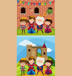Two royal families at the castle vector