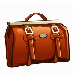 Vintage brown leather handbag closeup vector