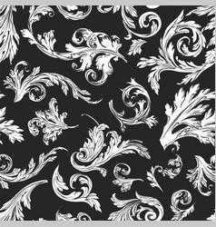 vintage floral decoration retro foliage seamless vector image
