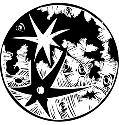 Woodcut Cratered Moon vector