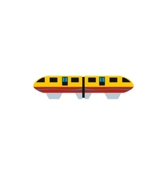 Yellow monorail train icon flat style vector