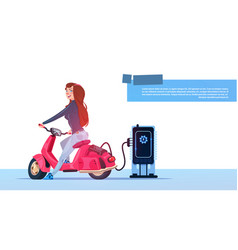 Young girl sit electric scooter charging at vector