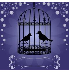 Birdcage-on-blue-floral-background vector image vector image
