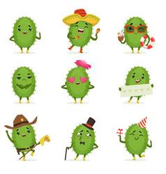 cute cactus cartoon characters set cacti vector image