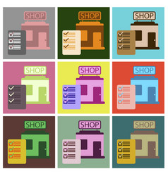 flat icons set shop form vector image vector image