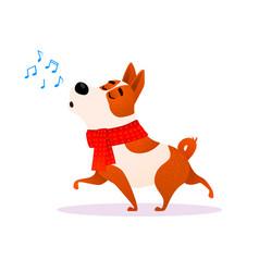 funny cartoon singing dog new year flat character vector image
