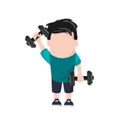Man cartoon lifting weight design vector