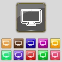monitor icon sign Set with eleven colored buttons vector image
