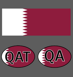 qatar flag and sticker on the car with vector image