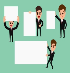 Set of businessman holding blank paper vector image vector image