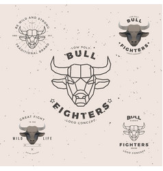 bull head logo set vector image