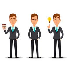 business man cartoon character set vector image vector image