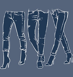 Drawing womens fashionable denim jeans vector image vector image