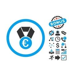Euro Champion Medal Flat Icon with Bonus vector image vector image