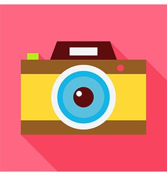 Flat Photo Camera with Long Shadow vector image vector image