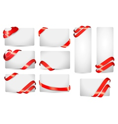 Set of gift card notes with red ribbons vector image vector image
