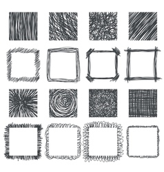 Set of hand drawn squares design elements Lines vector image