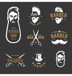 Set of vintage barber shop emblems label vector image vector image