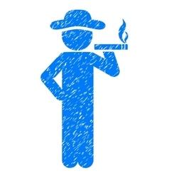 Smoking gentleman grainy texture icon vector