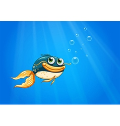 A fish with a big mouth under the ocean vector image