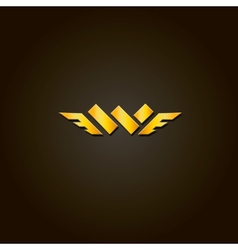 Letter W gold font Template for company vector image