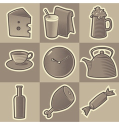 Monochrome food icons vector