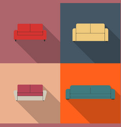 set of flat sofa icons vector image