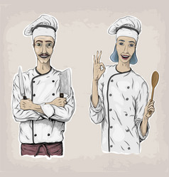 woman and men caucasian cook chef worker in chefs vector image vector image