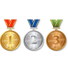 Award gold silver and bronze Medals Set vector image vector image