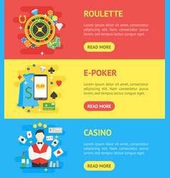 casino banner horizontal set symbol gambling game vector image