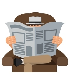 man reading newspaper sitting on chair icon vector image