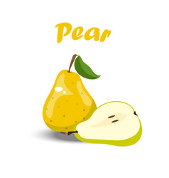 whole and a slice of pear vector image