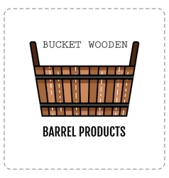 Wooden tub basket isolated on white background vector image