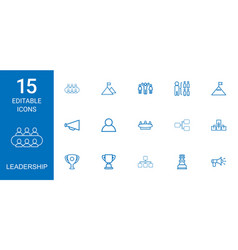 15 leadership icons vector