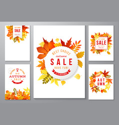 6 bright autumn posters vector