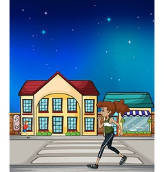 A woman walking hurriedly vector image