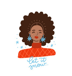 afroamerican girl with afro hairs and funky vector image