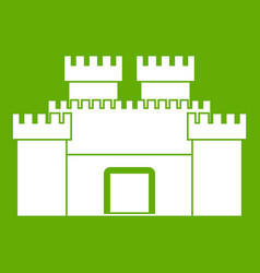Ancient fortress icon green vector