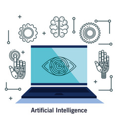 artificial intelligence technology set icons vector image