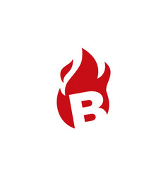 B letter fire flame logo icon vector