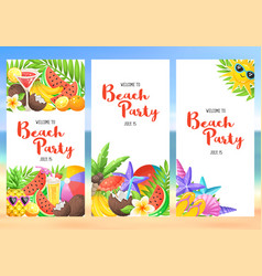 Beach party banners vector