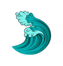 big blue ocean wave with black outline isolated on vector image