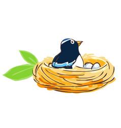bird hatch her egg in nest vector image
