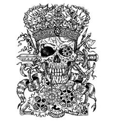 black and white drawing with scary skull vector image