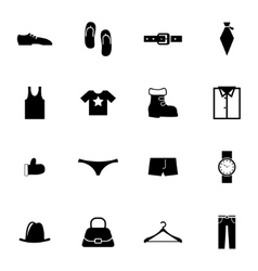 Black clothes icons set vector