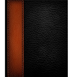Black leather background with brown leather strip vector image
