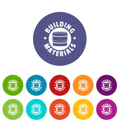 building material icons set color vector image