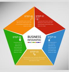 Business infographics geometry pentagon design vector