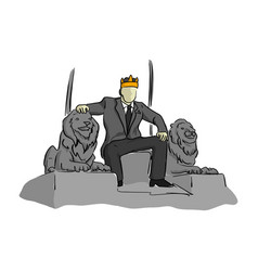 Businessman like a king sitting on throne chair vector