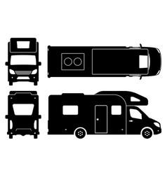 camper van black icons vector image